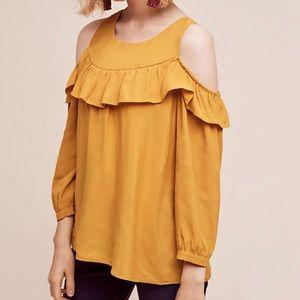 Maeve cold shoulder mustard top